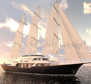 Luxury motorsailer charter Greece Turkey 55 mt